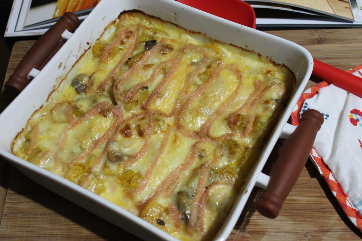 Gratin de courge butternut et champignons au munster ( avec ou sans thermomix )