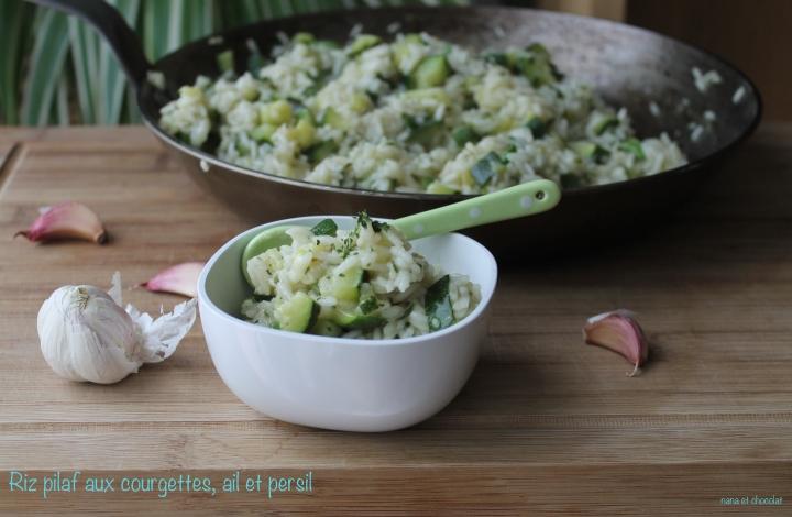 Riz pilaf, ail, courgettes,etpersil