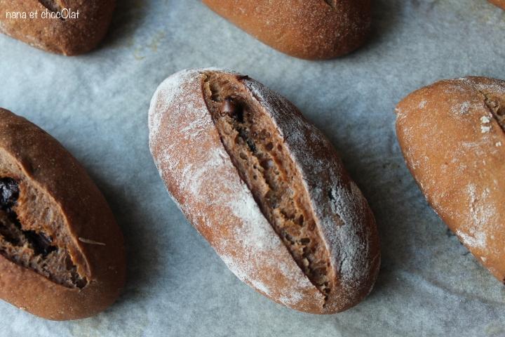 Petits pains semi-complets au cacao et pépites dechocolat