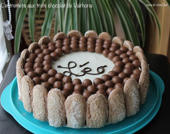 L'entremets  aux 3 chocolats, recetteValrhona