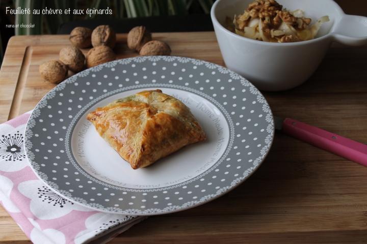 Feuilletés aux épinards et auchèvre