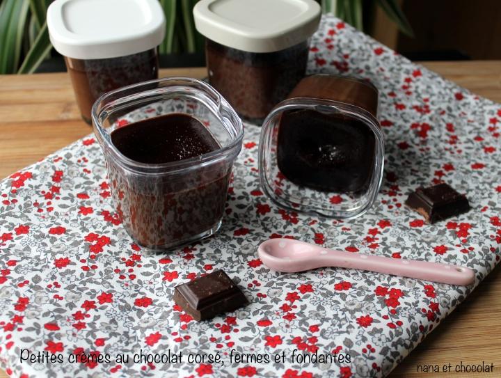 Petites Crèmes au chocolat noir corsé, incroyablement fermes etfondantes