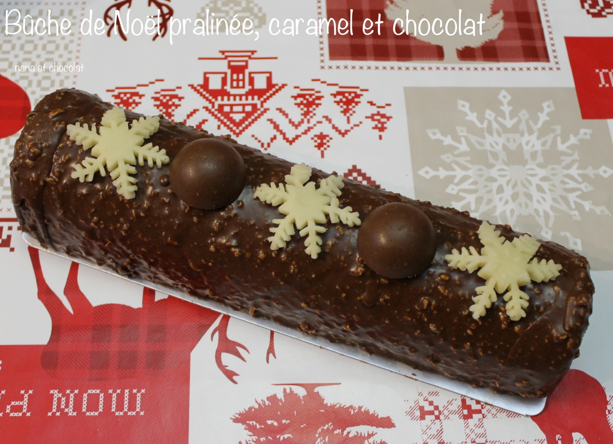 Bûche au caramel, chocolat et praliné🎄 ( glaçage façon rocher)