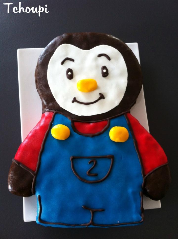 Mon gâteau Tchoupi , au chocolat, poires et pâted'amande