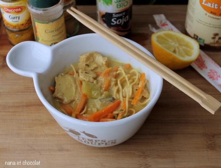 Nouilles japonaises au poulet et lait de coco(Ramen)