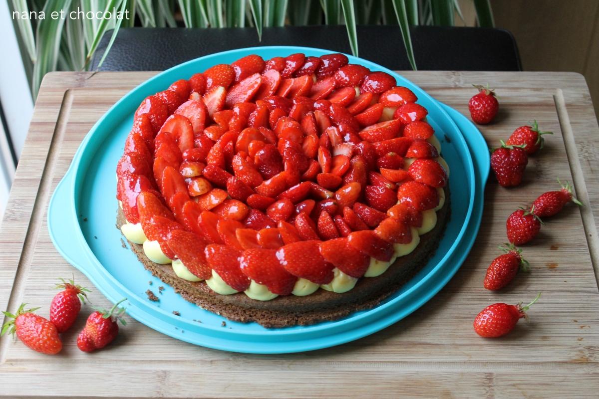 Tarte aux fraises sur sablé breton ( et crème pâtissière de C.Michalak)