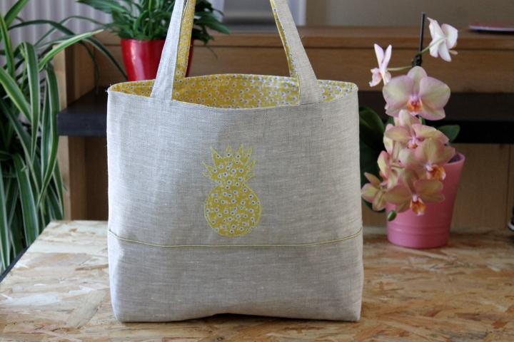 La sac Cabas en lin, «Ananas»