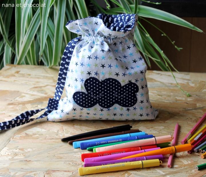 Pochons en coton ( sacs à coulisses) pour nos petitsloulous