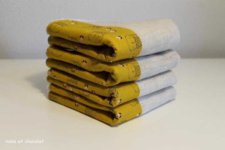 serviette chouette jaune