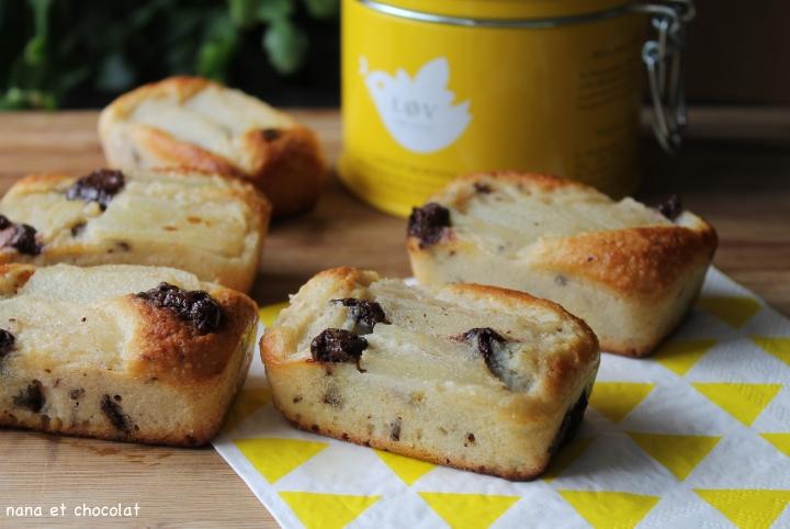2 recettes  gourmandes et sans beurre pour le goûter ( financier aux poires et financier aux framboises)