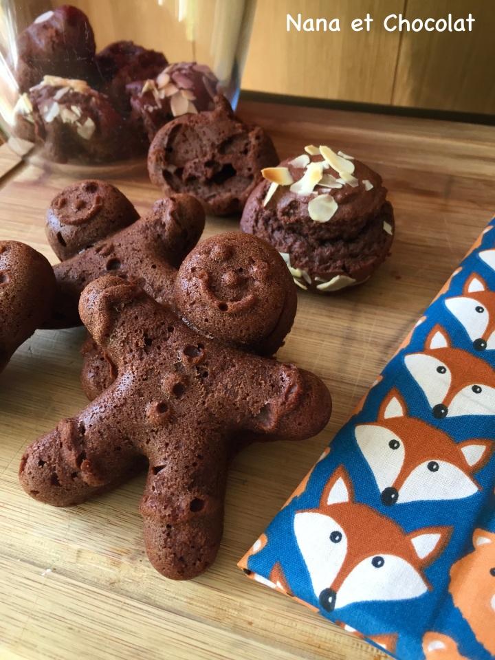 Petits bonhommes  au chocolat pour le goûter ( gâteaux au chocolat trèsfaciles)