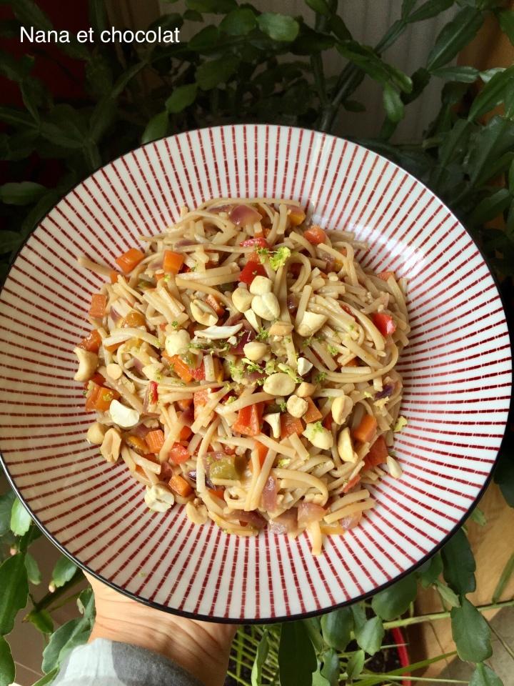 Pad Thaï végétarien ( nouilles à la thaïlandaise, recetterapide)