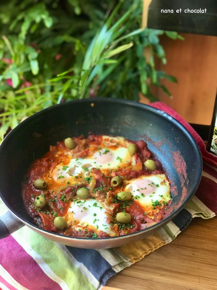 Chakchouka. ( plat mijoté facile à base de tomates etd'œufs)